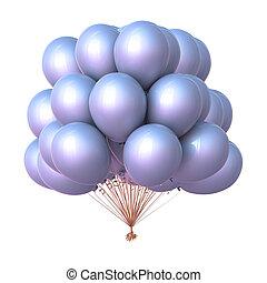 classique, hélium, décoration, fête, blanc, ballons, tas