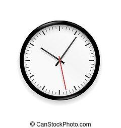 classique, illustration, vecteur, fond, isolé, horloge, blanc