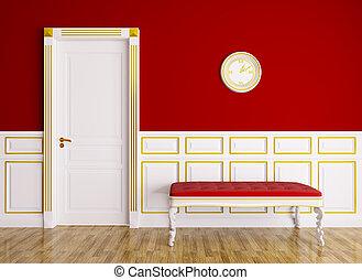 classique, intérieur, à, divan, et, porte