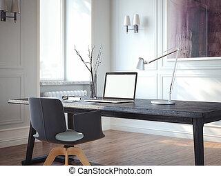Minimaliste grenier classique bureau maison scandinave sombre