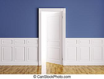 classique, intérieur, à, ouvert, porte