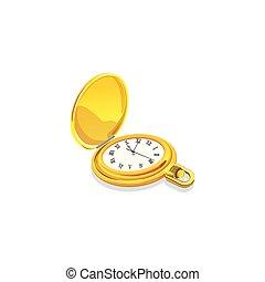 classique, isolé, clock., vecteur, illustration, fond, blanc
