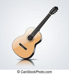 classique, isolé, guitare, vecteur, fond, blanc