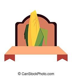 classique, maïs, étiquette, cob, grain, céréale