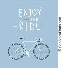 classique, mens, ville, vélo route, à, jouir de, les, cavalcade, titre, détaillé, vecteur, illustration, pour, carte, t-shirt, etc