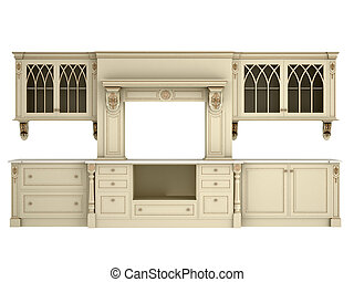 classique, meubles, cuisine