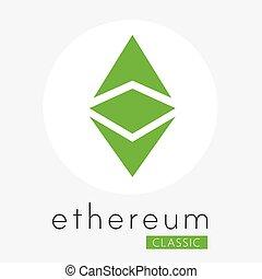 classique, monnaie, (etc), vecteur, ethereum, logo, cripto