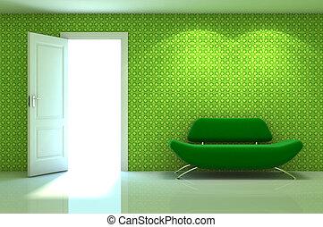 classique, mur, scène, divan, intérieur, blanc rouge, 3d
