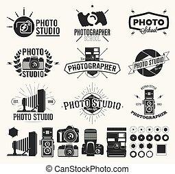 classique, photo, photographie, étiquettes, appareil photo, studio, logo