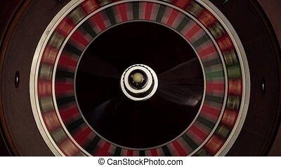 classique, rotations, rapidement, blanc, roulette, balle, croupier