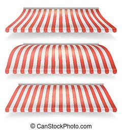 classique, set., isolé, illustration, réaliste, vecteur, arrière-plan rouge, marquise, blanc, magasin