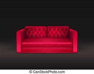 classique, sofa cuir, réaliste, vecteur, rouges