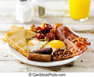classique, sommet, rustique, jus, anglaise, orange, servi, table petit déjeuner