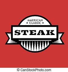 classique, timbre, vendange, -, américain, bifteck