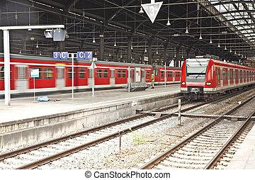 classique, train, intérieur, station, fer, trains, rouges