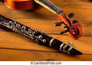 classique, vendange, bois, musique, violon, clarinette