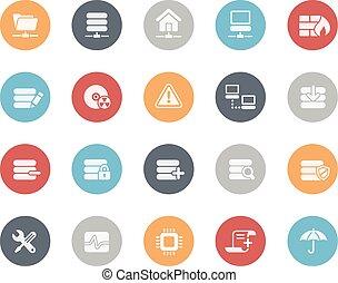 classiques, serveur, réseau, /, icônes
