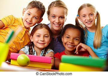Classmates and teacher - Portrait of smart schoolchildren...