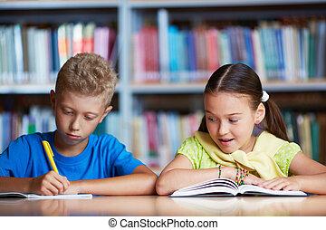 Classmates reading