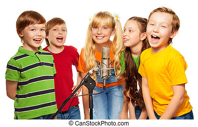 Classmates singing together standing with microphone