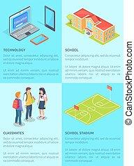 Classmates Students, Computers, School and Stadium -...