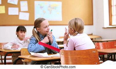 Classmates talking together