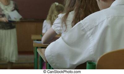classrom, enfants, école, groupe