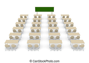 Classroom 2 - 3D rendered Illustration.