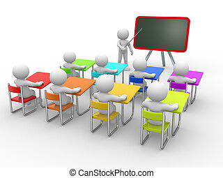 Classroom - 3d people - men , person with pointer in hand ...