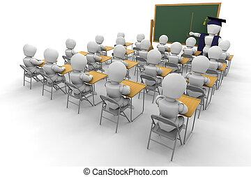 Classroom - 3D render of children in a classroom