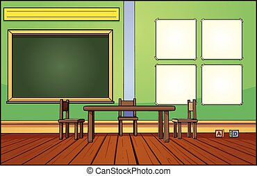 Classroom background. Vector clip art illustration with...