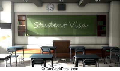 """""""Classroom black board text, Student Visa."""""""