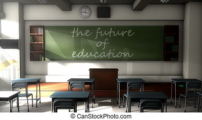 """Classroom black board text, the future of Education."""