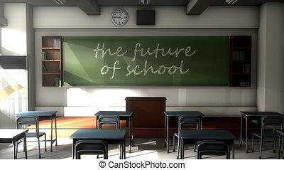 """Classroom black board text, the future of school."""