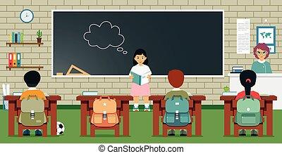 classroom., boek, student, vrouwlijk, lezende