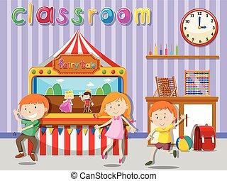 classroom dzieci, interpretacja