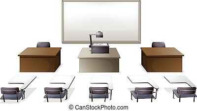 Classroom - Empty classroom with desks and monitor