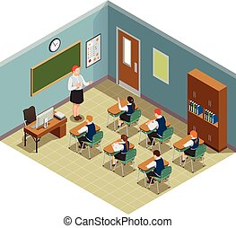 Classroom Hour Isometric Composition