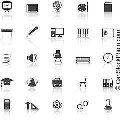 Classroom icons with reflect on white background