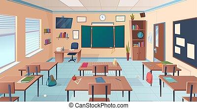 Classroom interior. School or college room with desks chalkboard teacher items for lesson vector cartoon illustration