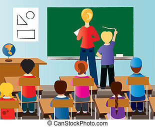 classroom - is a teacher with is students.