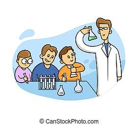 classroom., leçon, plat, gosses, vecteur, blanc, laboratory., style, illustration, chimie, arrière-plan., isolé