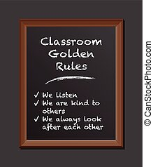 classroom rules chalk board