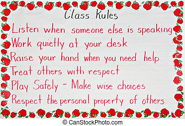 Classroom rules - Primary classroom rules handwritten by the...