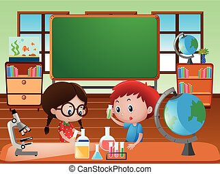 Classroom scene with kids doing science experiment