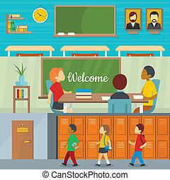Classroom school banner horizontal set, flat style