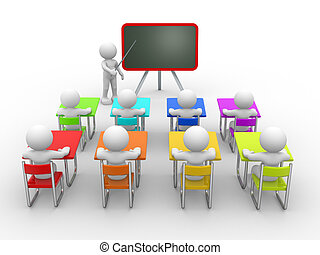 Classroom - 3d people - men , person with pointer in hand...