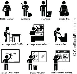 A set of pictograms representing classroom duty roster for student. They are monitor, sweeper, mopping floor, empty dustbin, arranging chairs tables, bookshelves, washing toilet, cleaning whiteboard, cleaning window, and notice board upkeep.