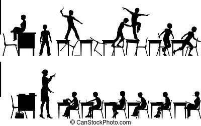 Classroom - Editable vector silhouettes of two classroom...