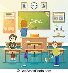 classroom., vektor, takarítás, ábra, gyerekek